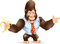 Funny Gorilla Cartoon Vector Character - Pointing with left hand
