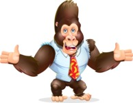 Funny Gorilla Cartoon Vector Character - Presenting with both hands
