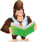 Funny Gorilla Cartoon Vector Character - Reading a book