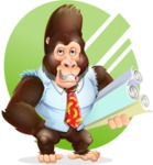 Funny Gorilla Cartoon Vector Character - Shape 10