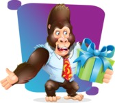 Funny Gorilla Cartoon Vector Character - Shape 5