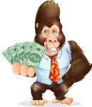 Funny Gorilla Cartoon Vector Character - Show me the Money