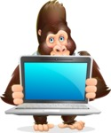 Funny Gorilla Cartoon Vector Character - Showing a laptop