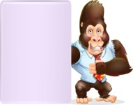 Funny Gorilla Cartoon Vector Character - Showing Big Blank banner