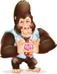 Funny Gorilla Cartoon Vector Character - Showing Love