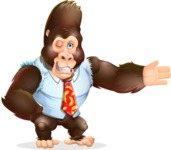 Funny Gorilla Cartoon Vector Character - Showing with left hand