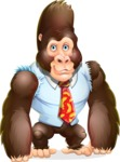 Funny Gorilla Cartoon Vector Character - Smiling