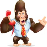 Funny Gorilla Cartoon Vector Character - Talking on phone