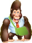 Funny Gorilla Cartoon Vector Character - Traveling