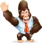 Funny Gorilla Cartoon Vector Character - Waving