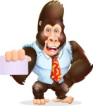 Funny Gorilla Cartoon Vector Character - with a Blank Business card