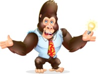 Funny Gorilla Cartoon Vector Character - with an Idea