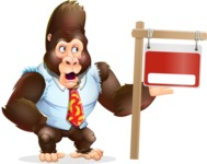 Funny Gorilla Cartoon Vector Character - with Blank Real estate sign
