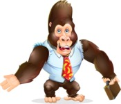 Funny Gorilla Cartoon Vector Character - with Briefcase