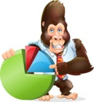 Funny Gorilla Cartoon Vector Character - with Business graph
