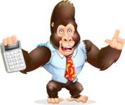 Funny Gorilla Cartoon Vector Character - with Calculator