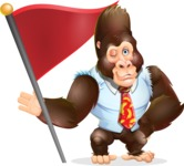 Funny Gorilla Cartoon Vector Character - with Flag
