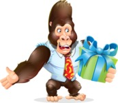 Funny Gorilla Cartoon Vector Character - with Gift box