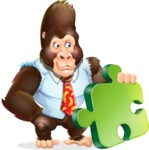 Funny Gorilla Cartoon Vector Character - with Puzzle