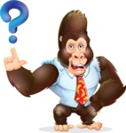Funny Gorilla Cartoon Vector Character - with Question mark