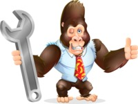 Funny Gorilla Cartoon Vector Character - with Repairing tool wrench