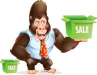 Funny Gorilla Cartoon Vector Character - with Sale boxes