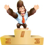 Funny Gorilla Cartoon Vector Character - with Success on Top