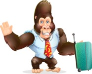 Funny Gorilla Cartoon Vector Character - with Suitcase