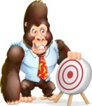 Funny Gorilla Cartoon Vector Character - with Target
