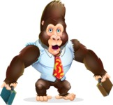 Funny Gorilla Cartoon Vector Character - with Two briefcases