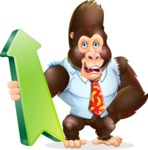 Funny Gorilla Cartoon Vector Character - with Up arrow