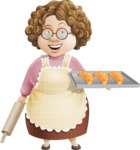 Grandma Vector Cartoon Character - 112 Illustrations Set - Baking French Croissants