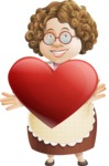 Grandma Vector Cartoon Character - 112 Illustrations Set - Being Romantic with Heart