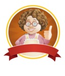 Grandma Vector Cartoon Character - 112 Illustrations Set - Charming Granny Chef Sticker Badge Template