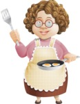 Grandma Vector Cartoon Character - 112 Illustrations Set - Cooking Breakfast Eggs