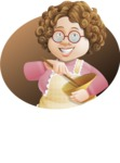 Grandma Vector Cartoon Character - 112 Illustrations Set - Cooking Illustration with Background