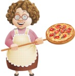 Grandma Vector Cartoon Character - 112 Illustrations Set - Cooking Italian Pizza