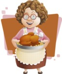 Grandma Vector Cartoon Character - 112 Illustrations Set - Cooking Turkey for Thanksgiving with Flat Background Illustration
