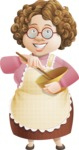 Grandma Vector Cartoon Character - 112 Illustrations Set - Cooking