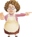 Grandma Vector Cartoon Character - 112 Illustrations Set - Finger Pointing with Angry Face