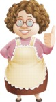 Grandma Vector Cartoon Character - 112 Illustrations Set - Giving Thumbs Up