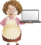 Grandma Vector Cartoon Character - 112 Illustrations Set - Holding a Blank Laptop