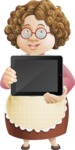 Grandma Vector Cartoon Character - 112 Illustrations Set - Holding a Tablet with Blank Screen