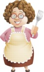 Grandma Vector Cartoon Character - 112 Illustrations Set - Holding Cooking Spatula