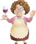 Grandma Vector Cartoon Character - 112 Illustrations Set - Holding Glass of Wine