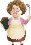 Grandma Vector Cartoon Character - 112 Illustrations Set - Holding Ladle and Restaurant Menu