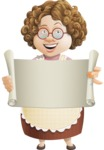 Grandma Vector Cartoon Character - 112 Illustrations Set - Holding Opened Blank Paper Scroll