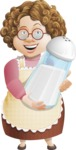 Grandma Vector Cartoon Character - 112 Illustrations Set - Holding Salt Shaker