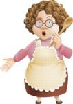 Grandma Vector Cartoon Character - 112 Illustrations Set - Holding Spoon