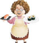 Grandma Vector Cartoon Character - 112 Illustrations Set - Holding Sushi Sets